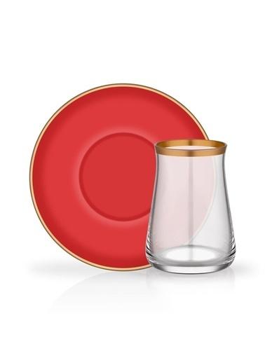 Glore Colored Kırmızı 6 Kişilik Çay Seti Renkli